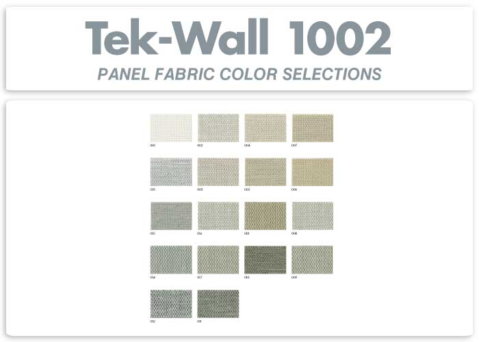 Tek-Wall Panel Fabric Color Selections